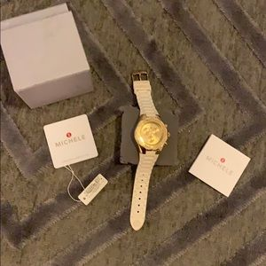 Michele White/Gold Jelly watch.